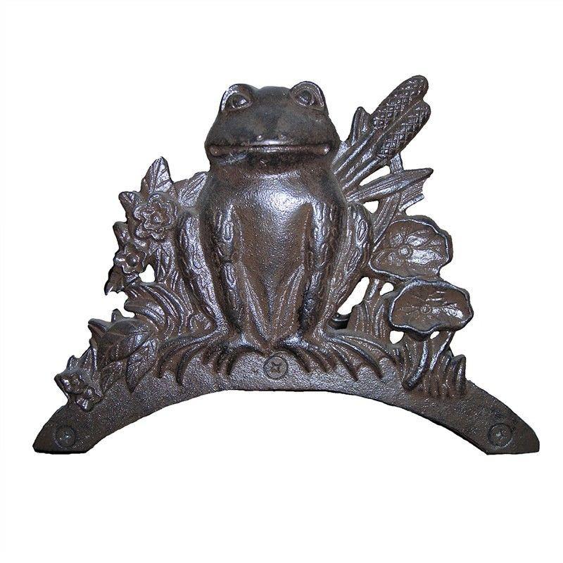 Cast Iron Frog Garden Hose Holder, Antique Rust