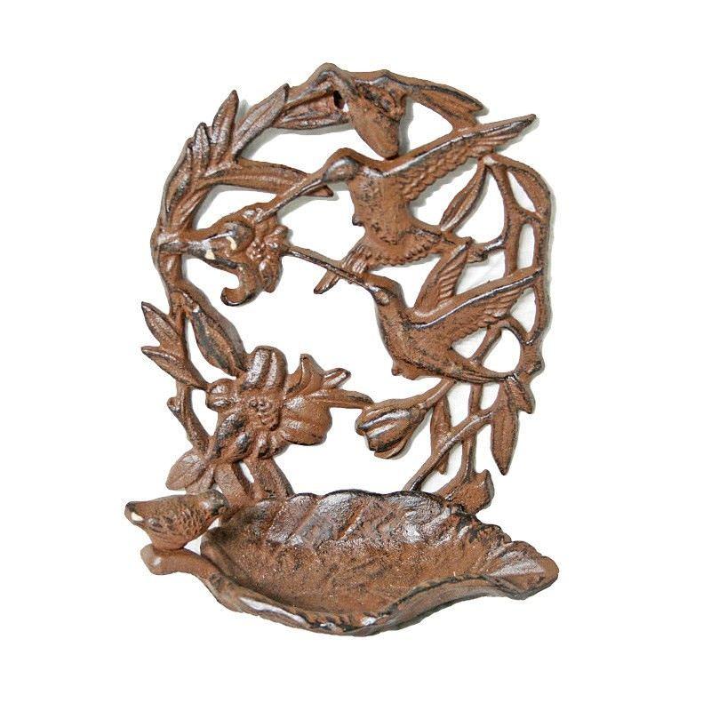 Alvena Cast Iron Wall Mount Bird Feeder, Antique Rust