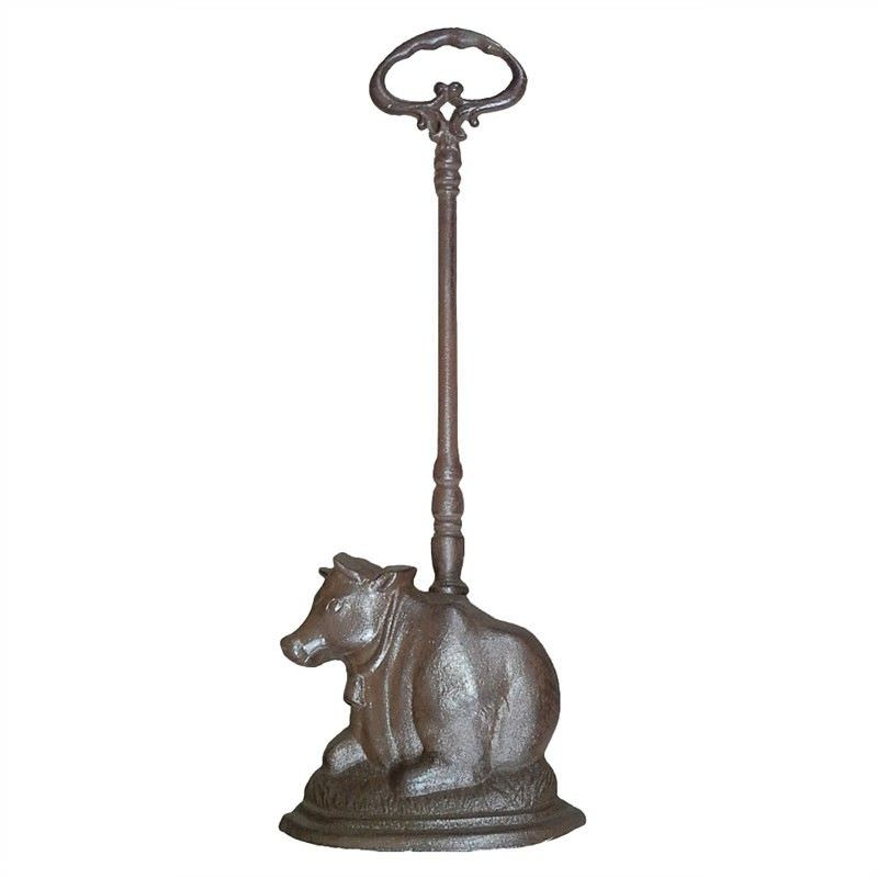 Cow on Pasture Cast Iron Door Stopper with Handle - Antique Rust