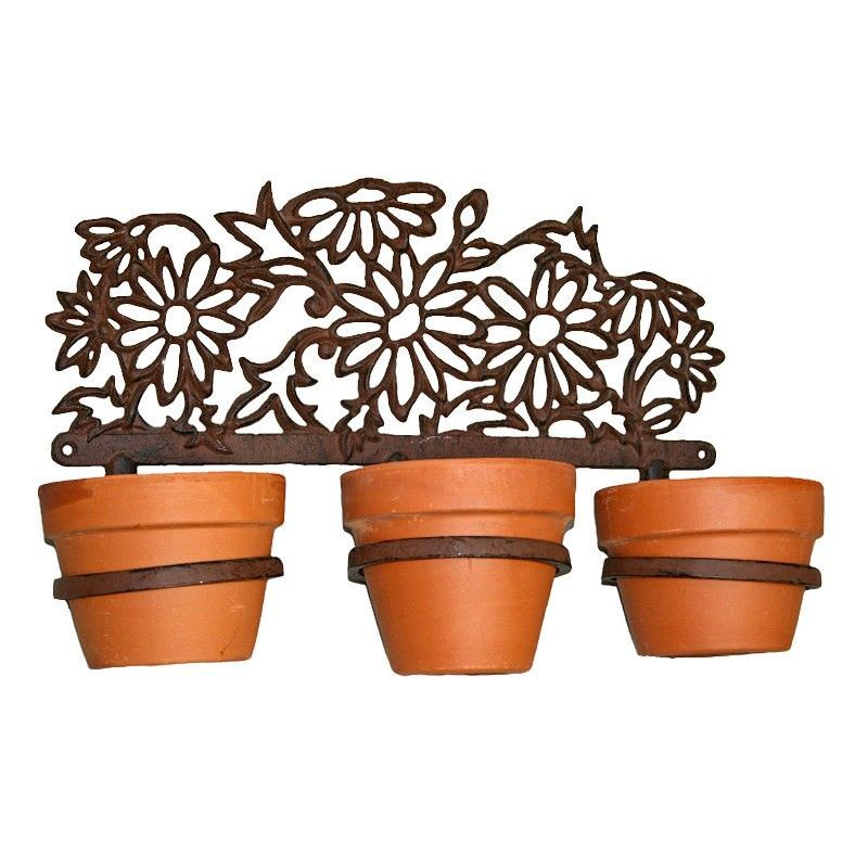 Daisies Cast Iron 3 Ring Wall Pot Holder - Antique Rust