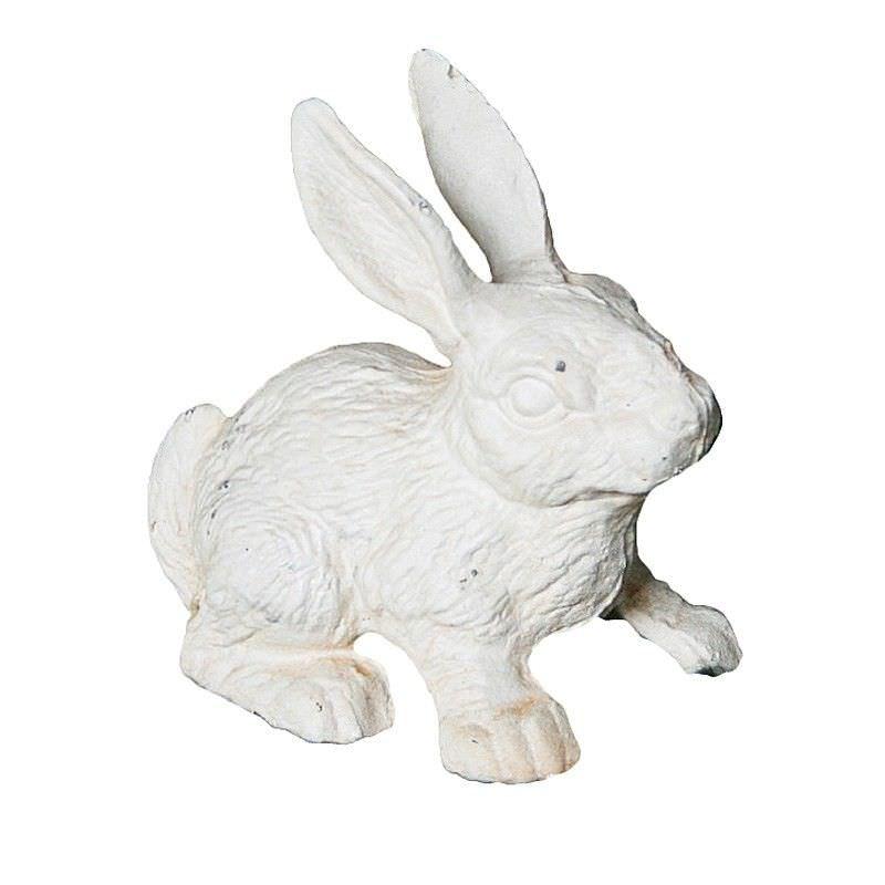 Cast Iron Standing Rabbit Figurine Garden Decor, Antique White