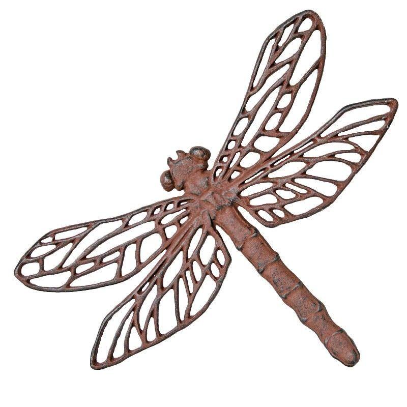 Dragonfly Cast Iron Garden Wall Decor - Antique Rust