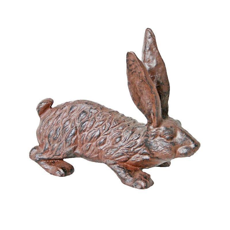 Cast Iron Hare Figurine Garden Decor - Antique Rust
