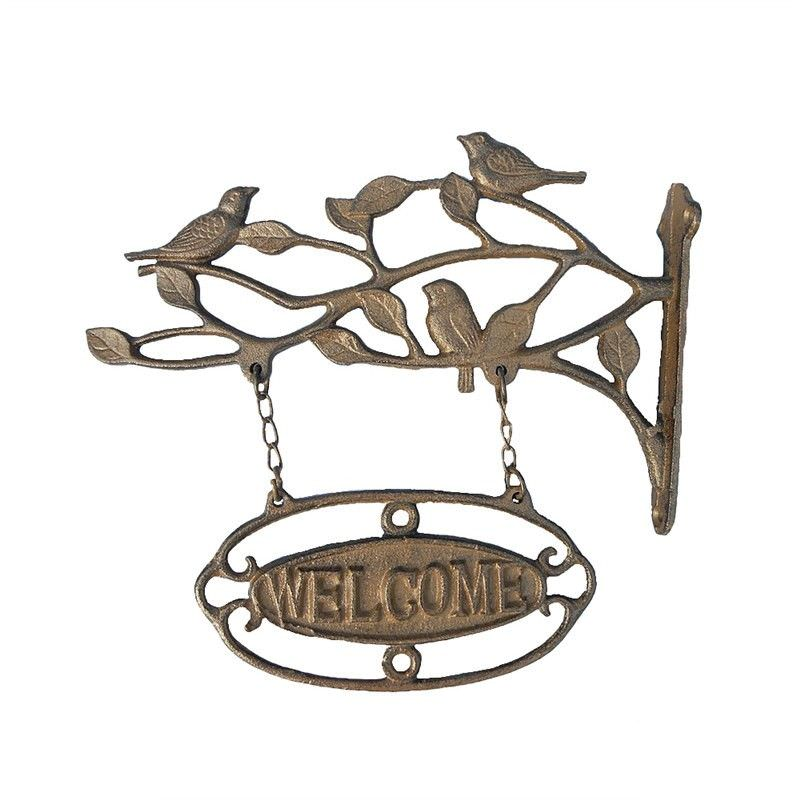 Bird Cast Iron Welcome Hanging Sign - Antique Rust
