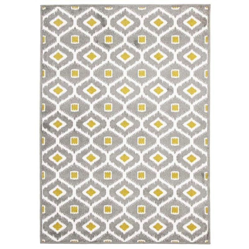 Bianca Egyptian Made Indoor/Outdoor Rug in Grey & Citrus - 330x240cm