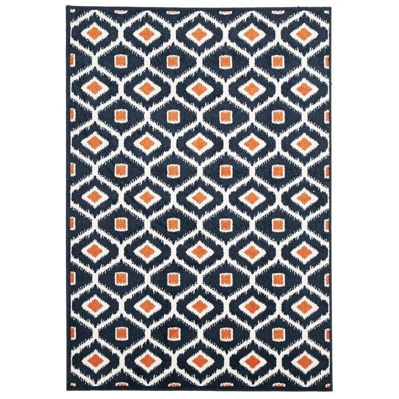 Bianca Egyptian Made Indoor/Outdoor Rug in Navy & Orange - 230x160cm