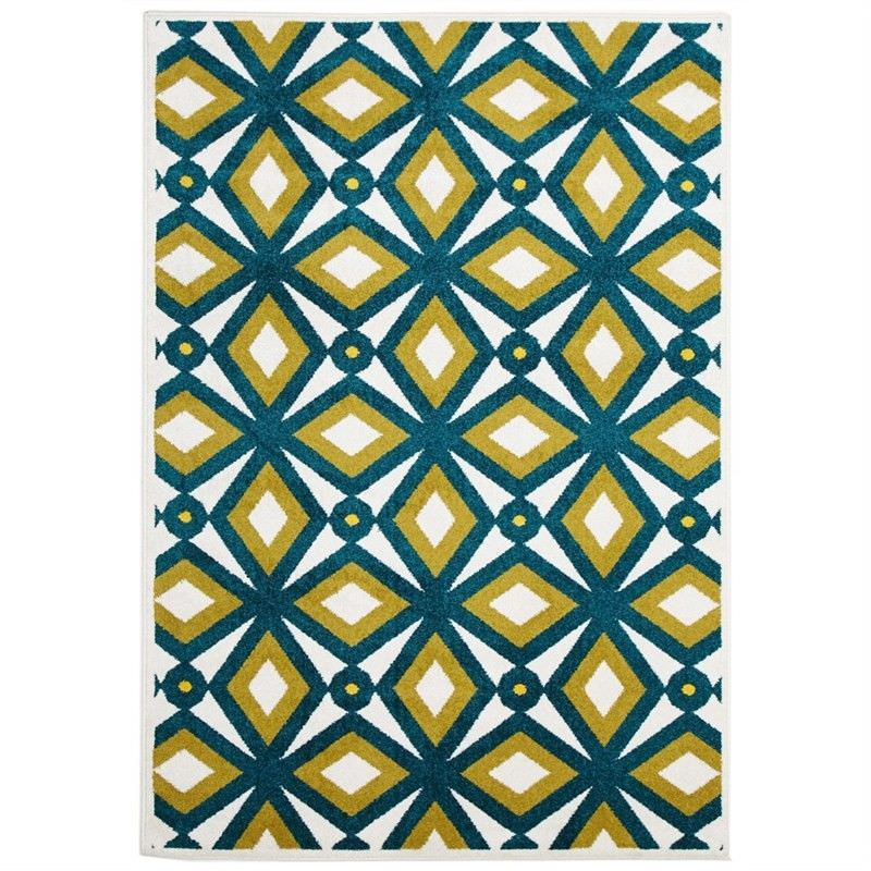 Nadia Egyptian Made Indoor/Outdoor Rug in Blue & Citrus - 330x240cm