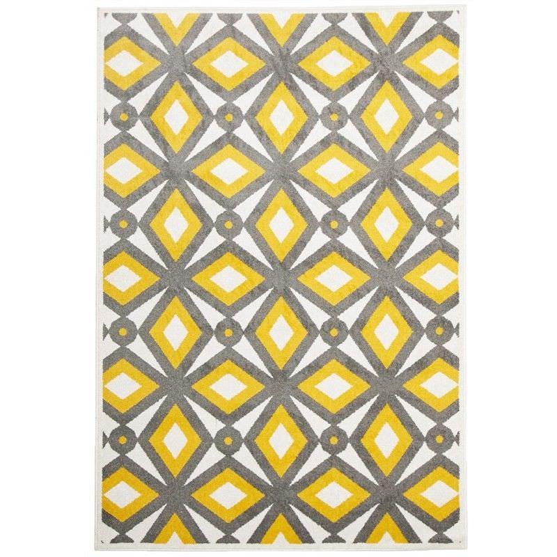 Nadia Egyptian Made Indoor/Outdoor Rug in Grey & Yellow - 330x240cm