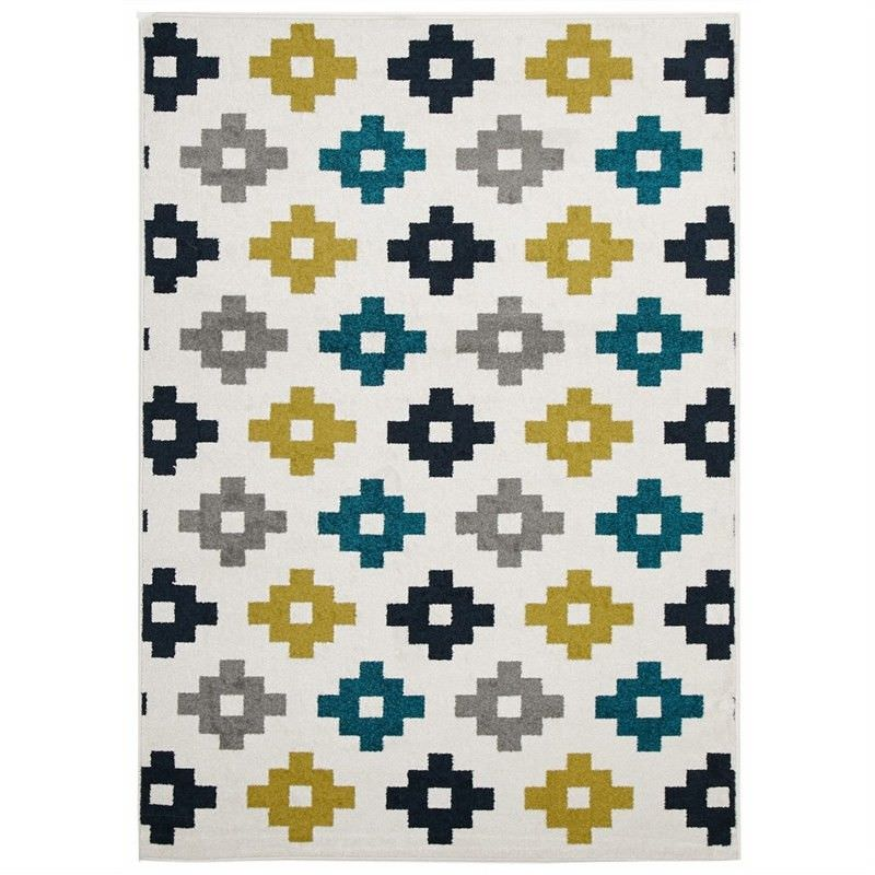 Pixel Egyptian Made Indoor/Outdoor Rug in White - 230x160cm
