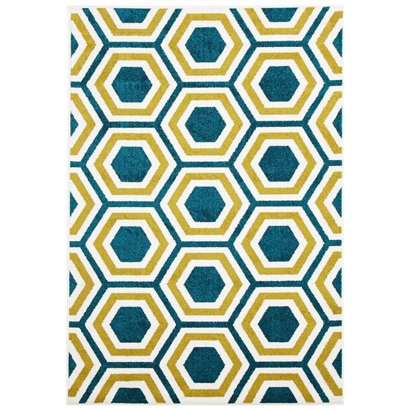 Honeycomb Egyptian Made Indoor/Outdoor Rug in Blue & Citrus - 290x200cm