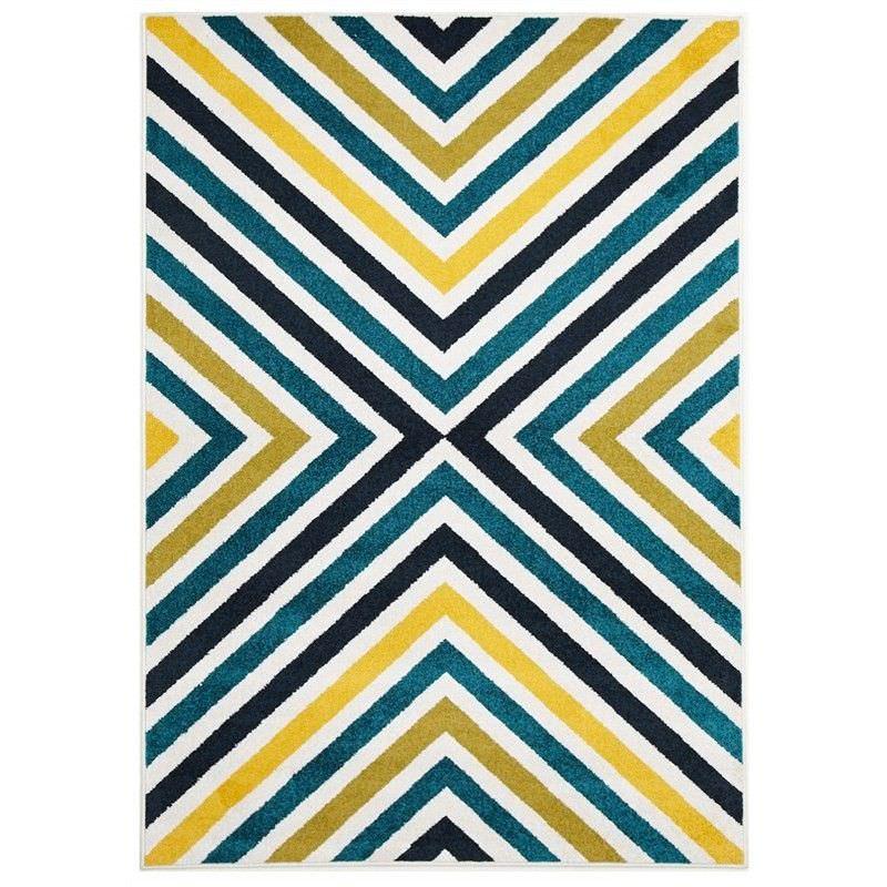 Hex Egyptian Made Indoor/Outdoor Rug in Blue & Citrus - 230x160cm