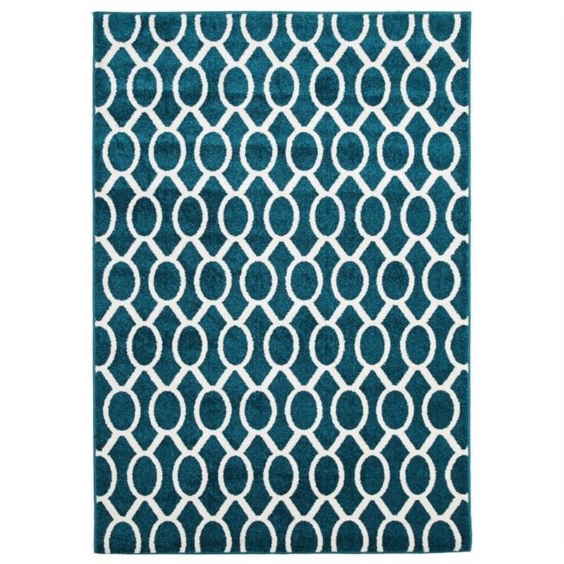 Neo Egyptian Made Indoor/Outdoor Rug in Peacock Blue - 290x200cm