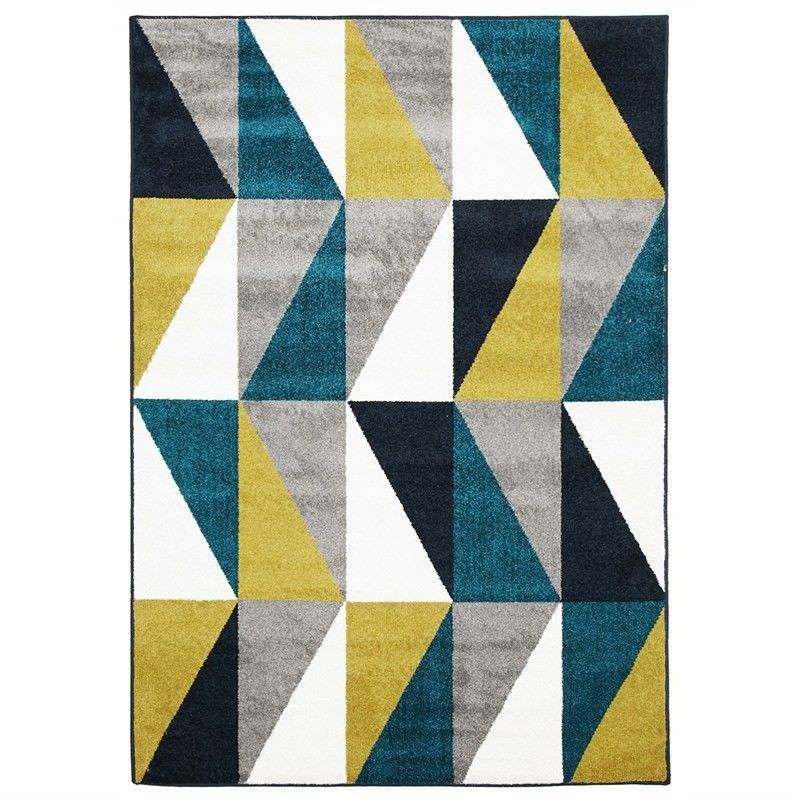 Mica Egyptian Made Indoor/Outdoor Rug in Blue & Citrus - 290x200cm