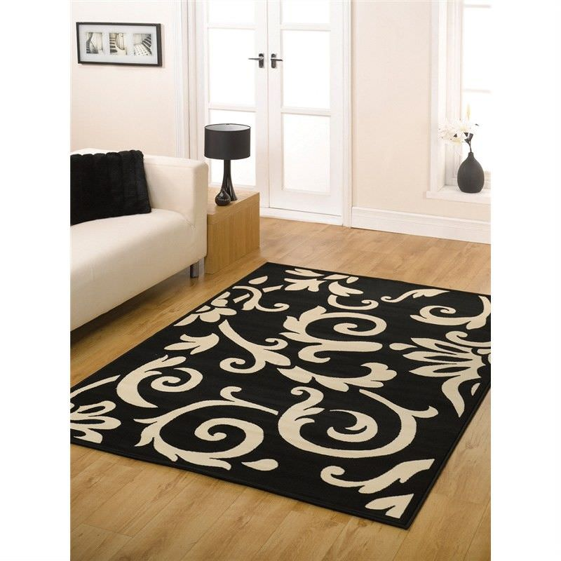 Turkish Made Retro Classic Rug in Black and Ivory - 190x280cm
