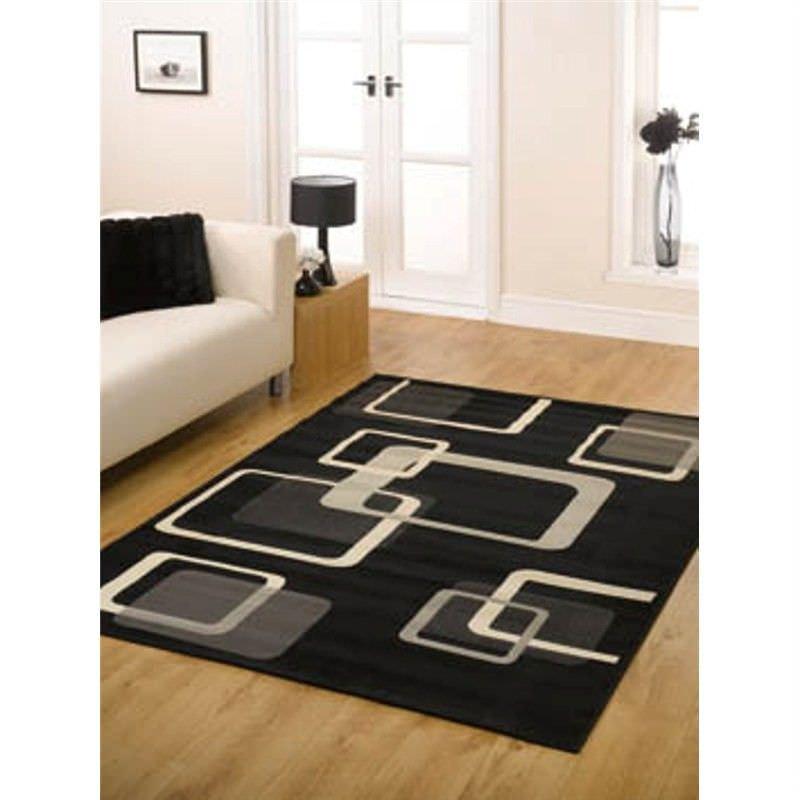 Turkish Made Retro Modern Square Cube Rug in Black - 160x225cm