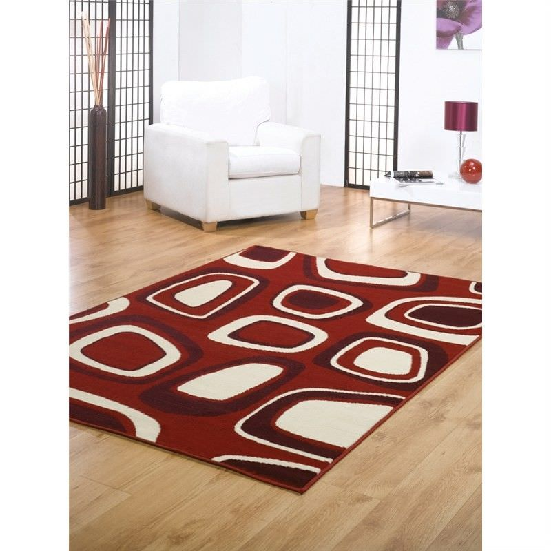 Turkish Made Contemporary Festival Zone Rug in Red - 160x230cm