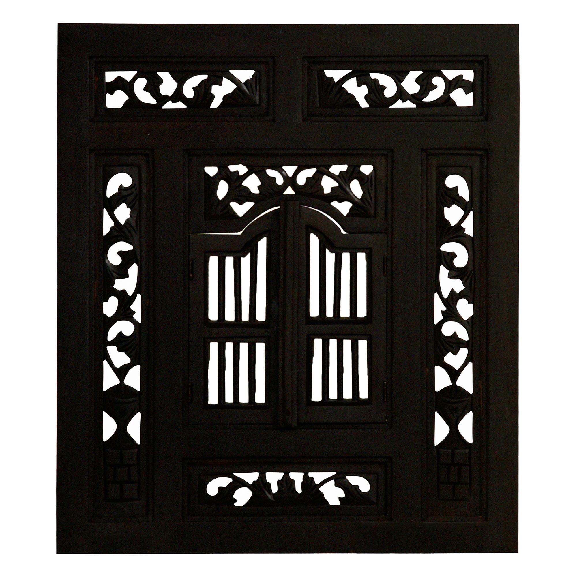 Prison Mahogany Timber Frame Window Wall Mirror, 130cm, Chocolate