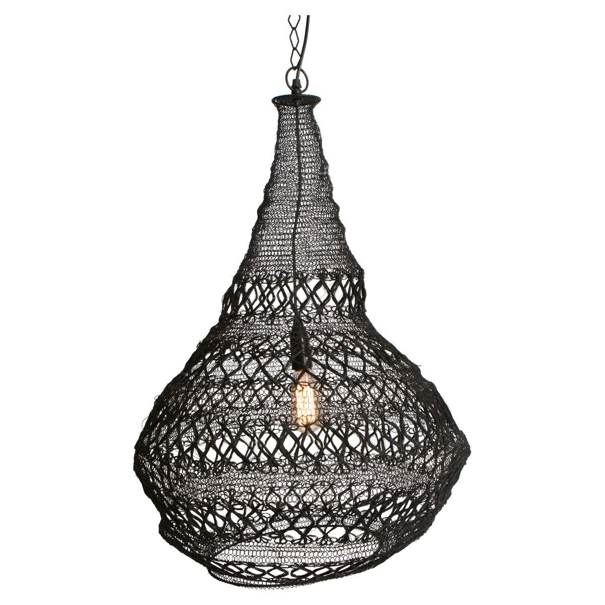 Fez Iron Wire Pendant Light, Black