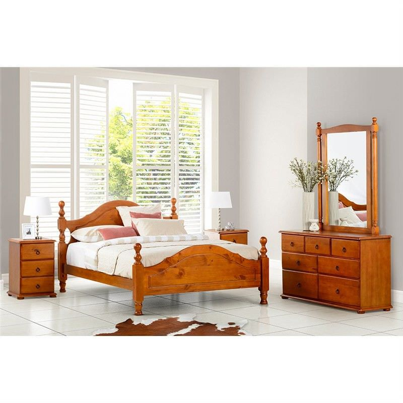 Simpson King Single  Bed New Zealand Pine Golden Oak