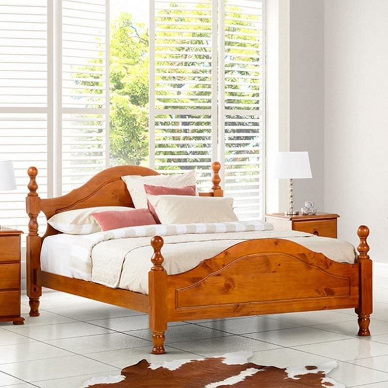 Simpson Queen  Bed New Zealand Pine Golden Oak
