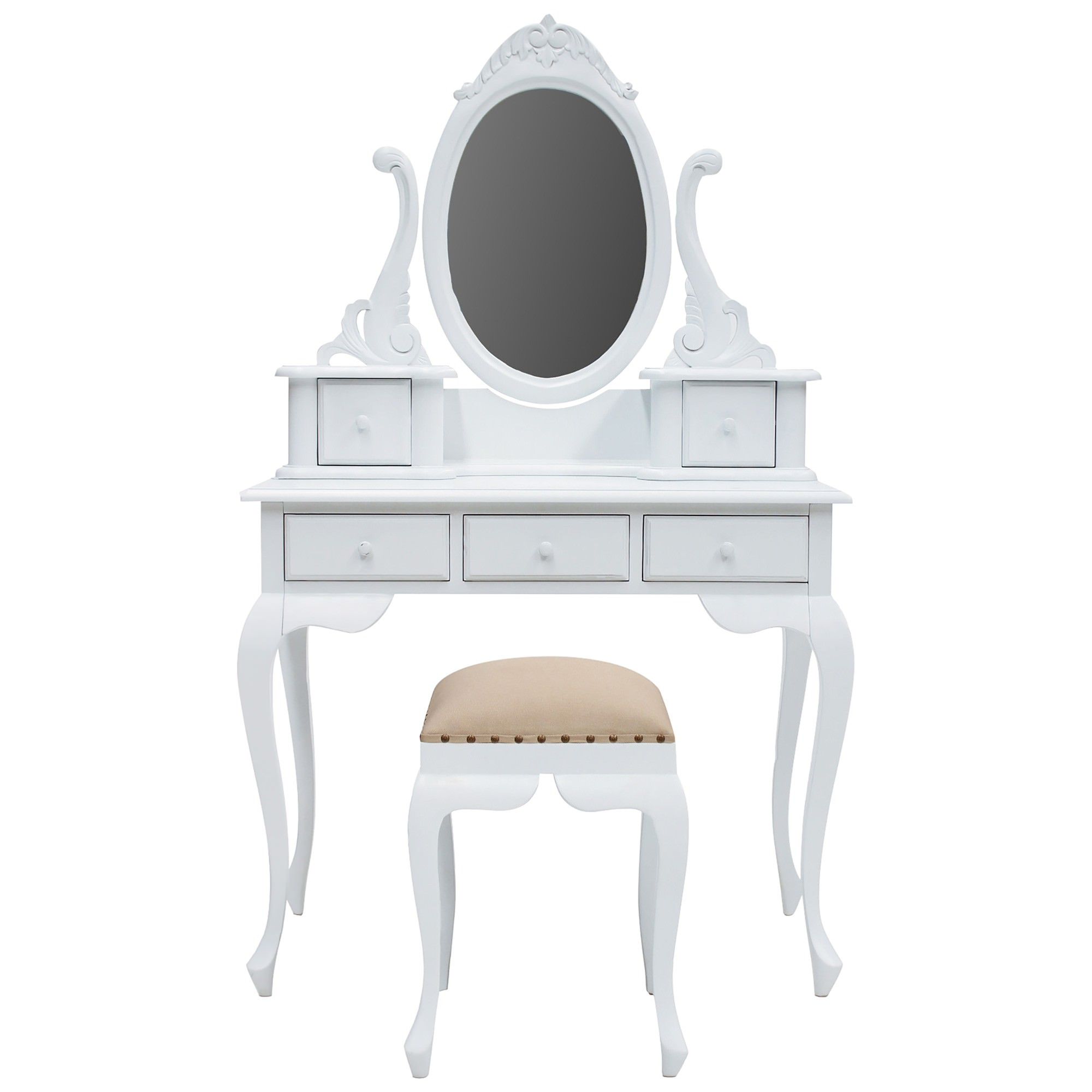 Champier Hand Crafted Mahogany Dressing Table with Stool, White