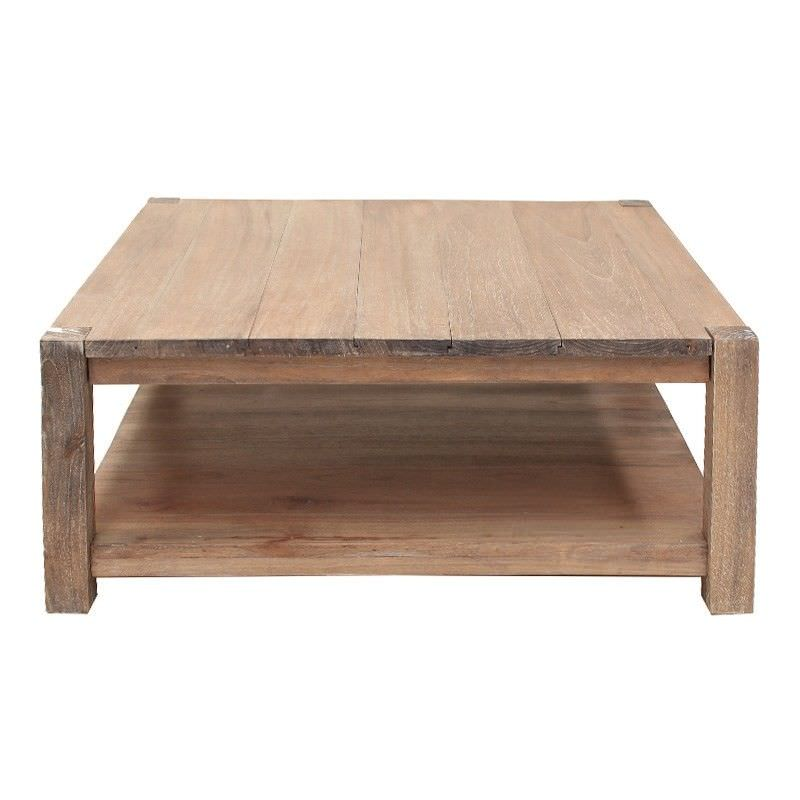 Valence Hand Crafted Mahogany 110cm Square Coffee Table - Weathered Oak