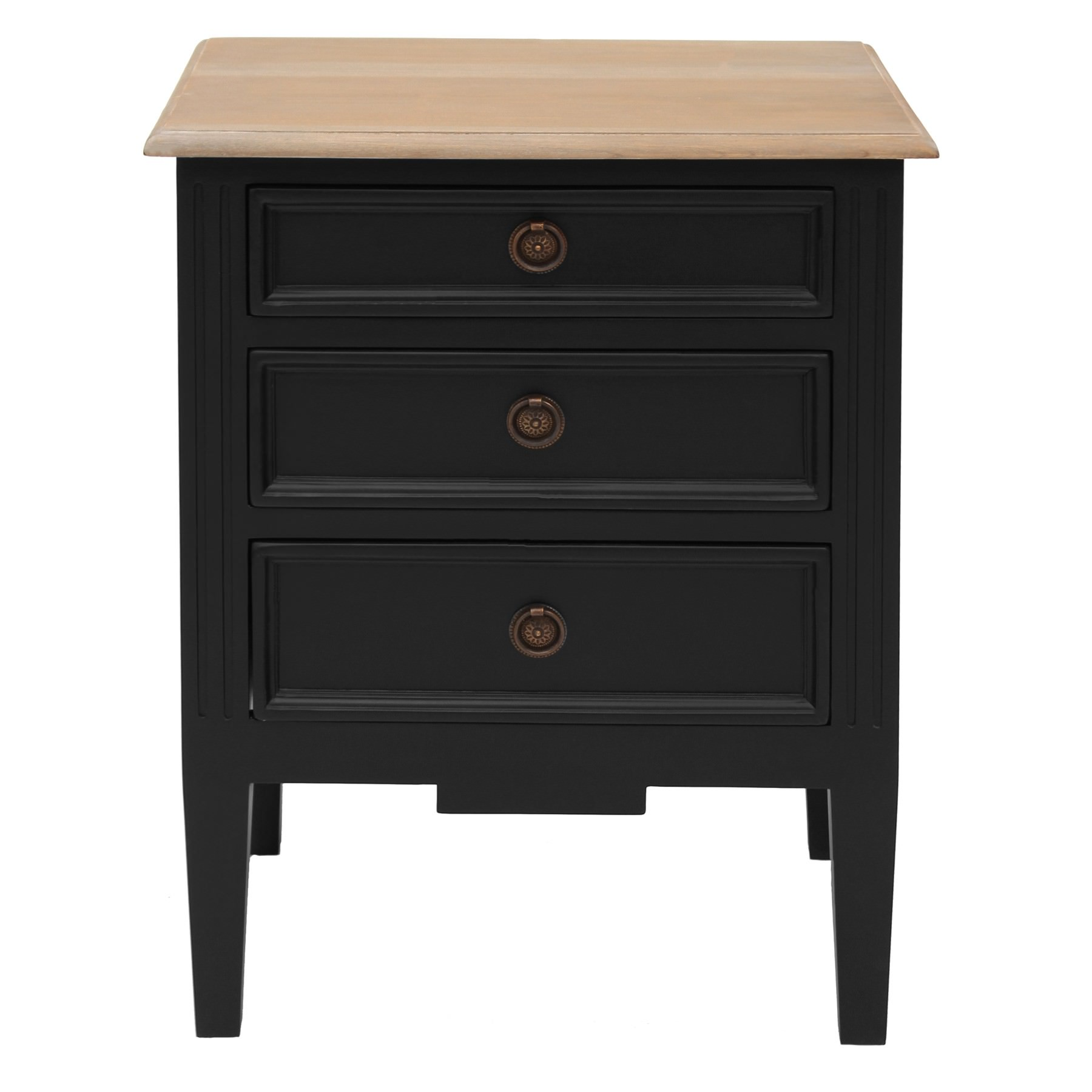 Belley Hand Crafted Mahogany Timber Bedside Table with Weathered Oak Top, Black
