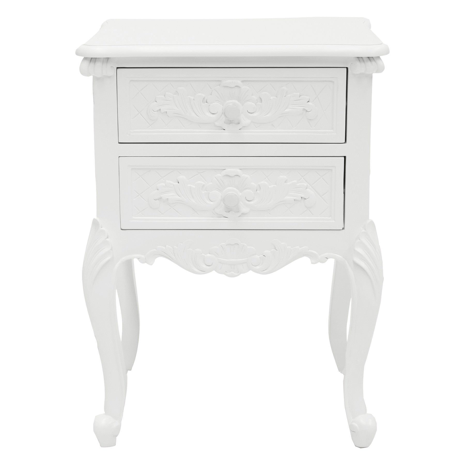 Challuy Hand Crafted Mahogany Bedside Table, White