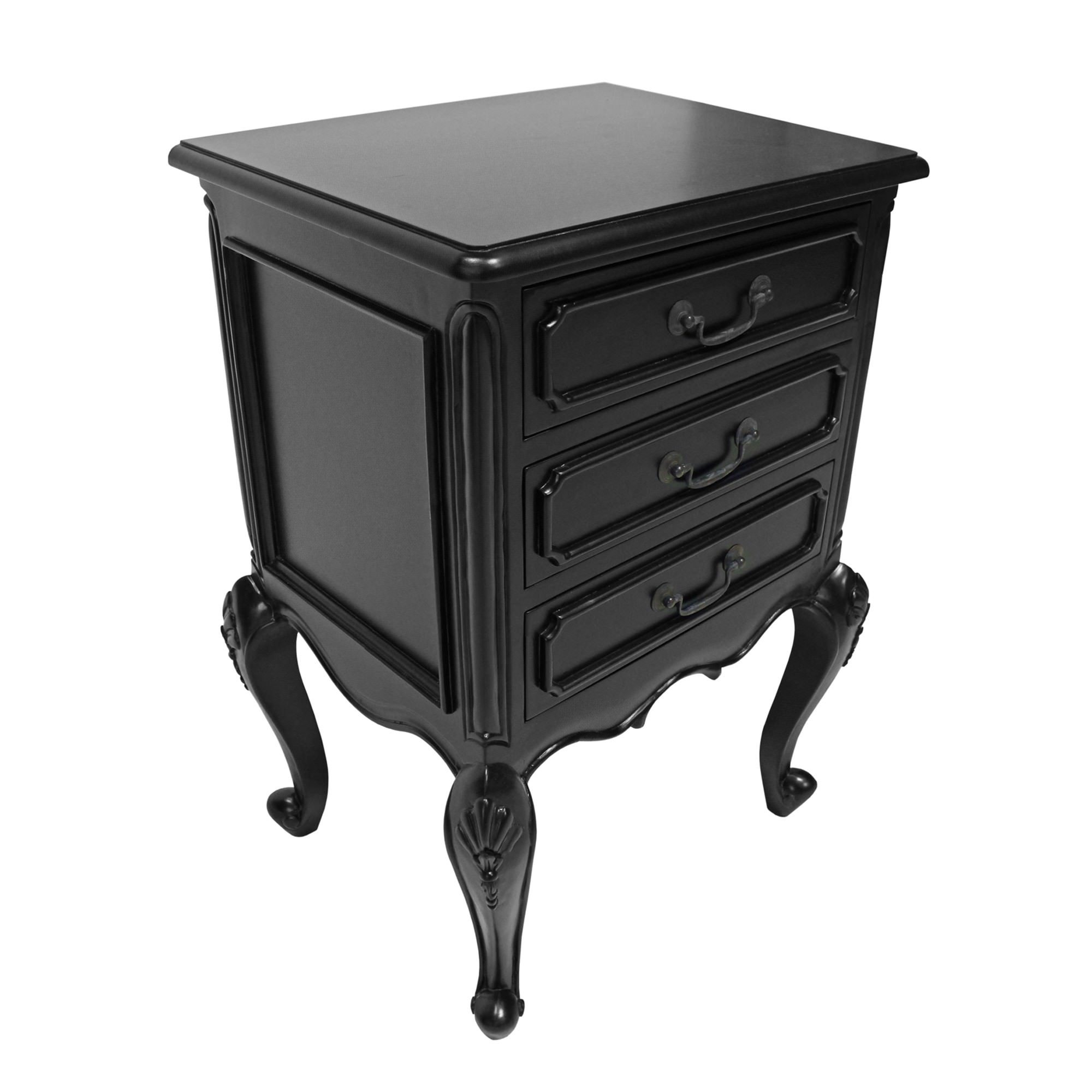Chamonix Hand Crafted Mahogany Bedside Table, Black