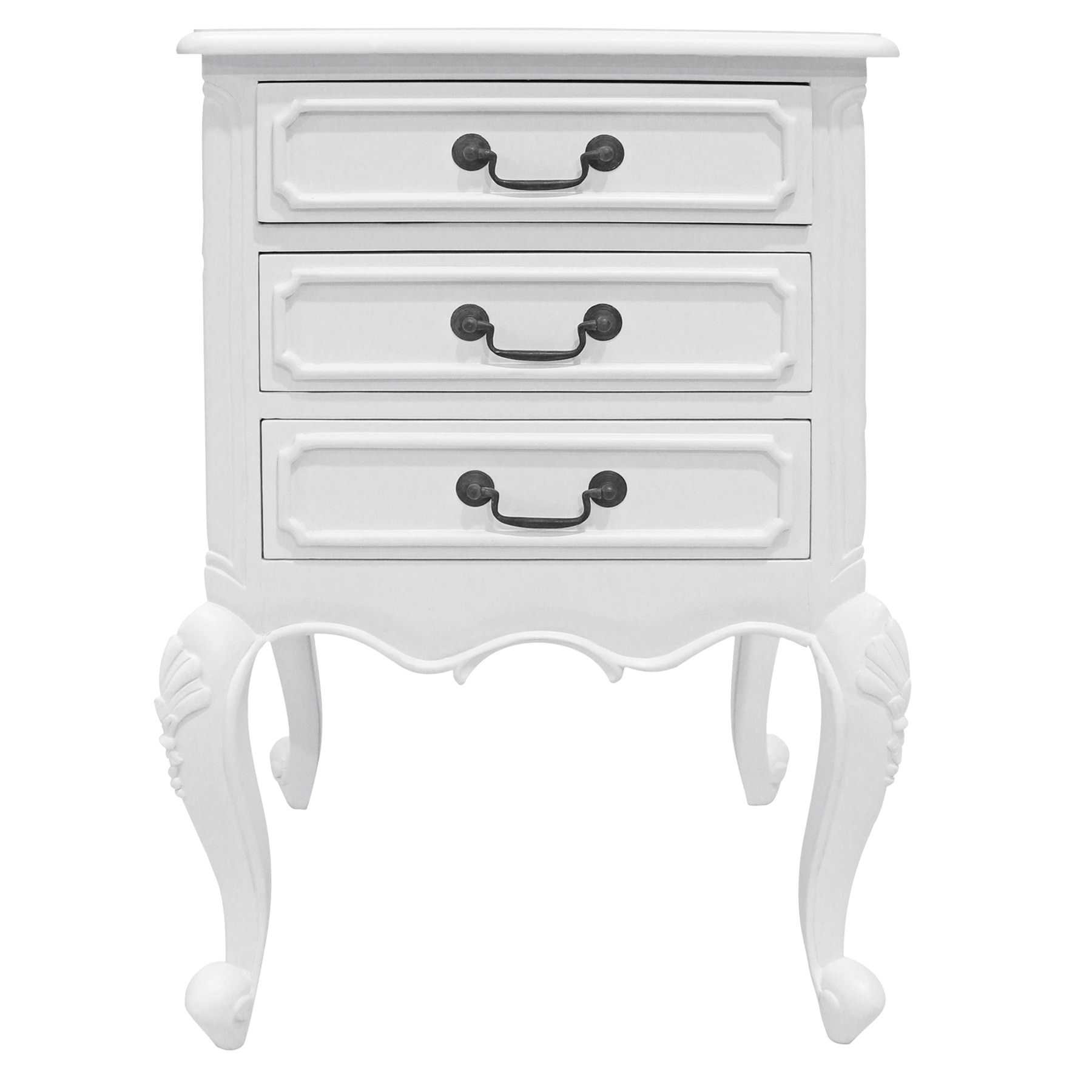 Chamonix Hand Crafted Mahogany Bedside Table, White