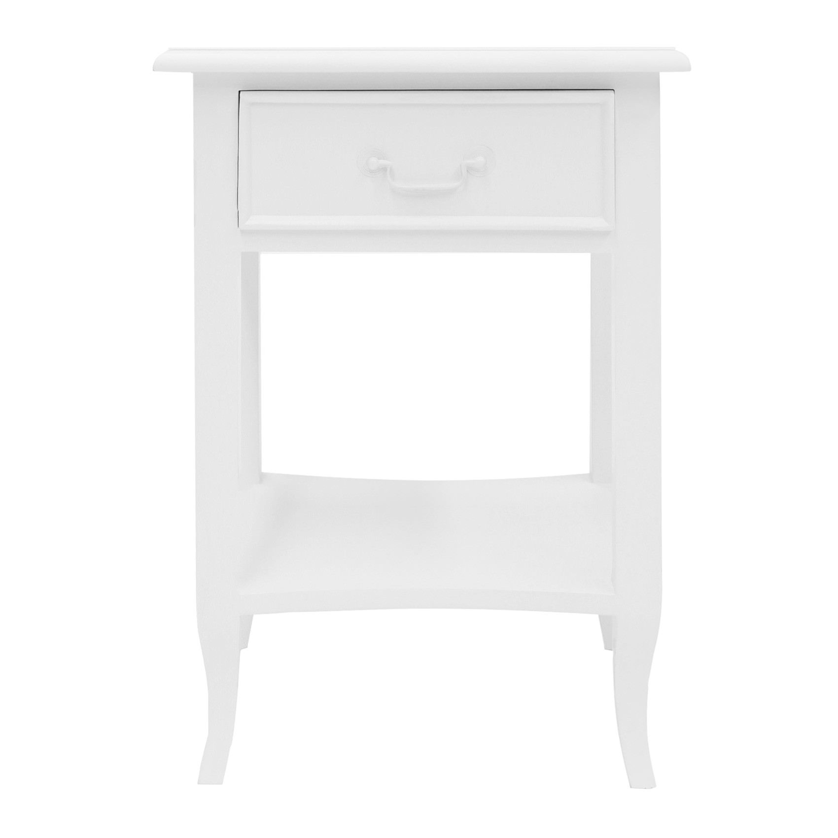 Ygrande Hand Crafted Mahogany Bedside Table, White