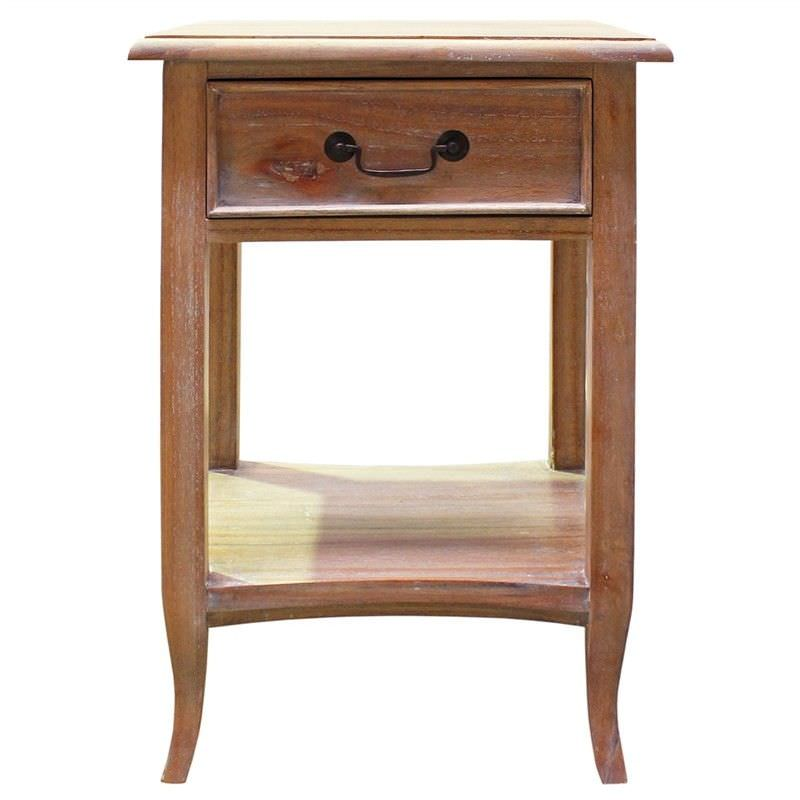 Ygrande Hand Crafted Mahogany Bedside Table, Weathered Oak