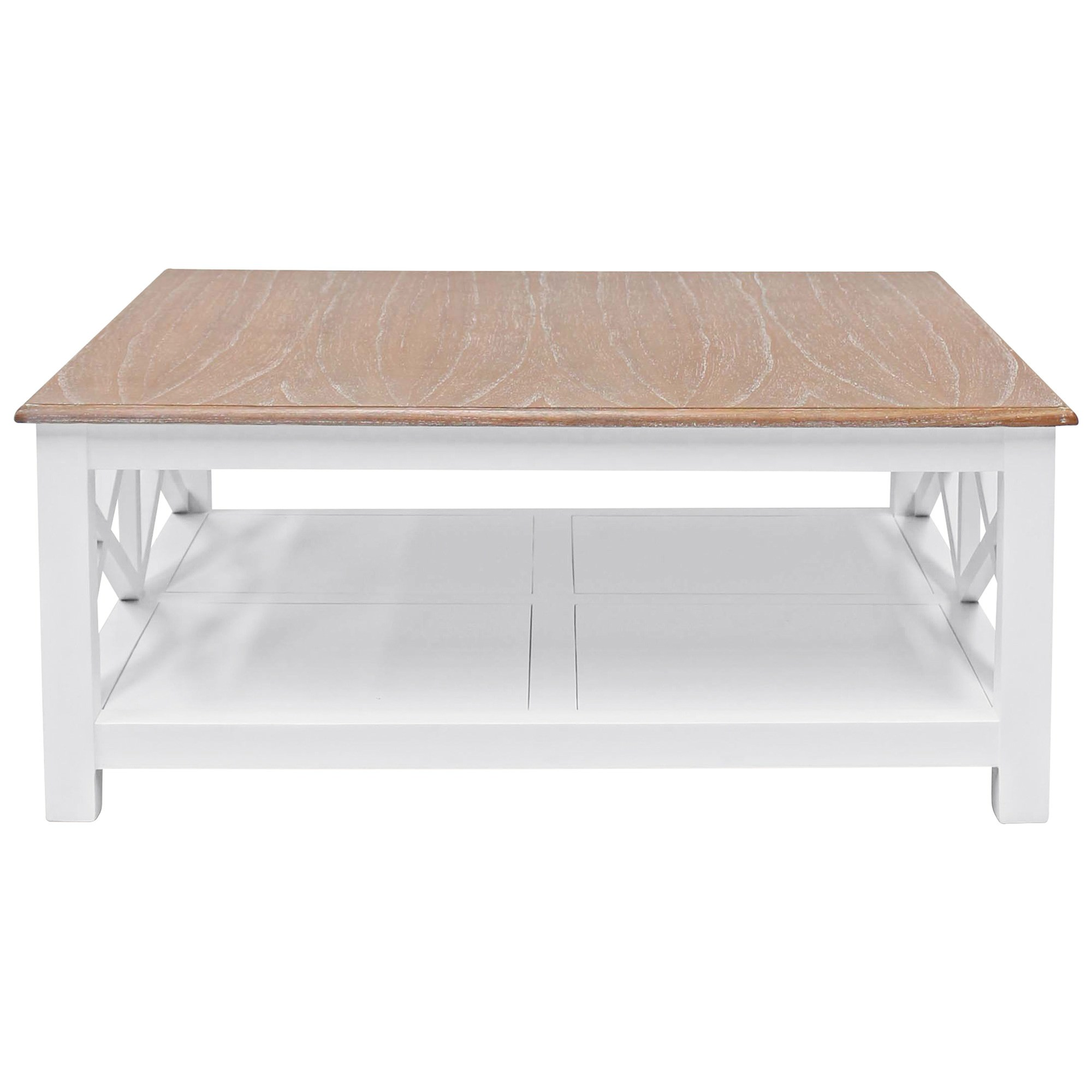 Belley Hand Crafted Mindi Wood Coffee Table with Shelf, 110cm, White / Weathered Oak