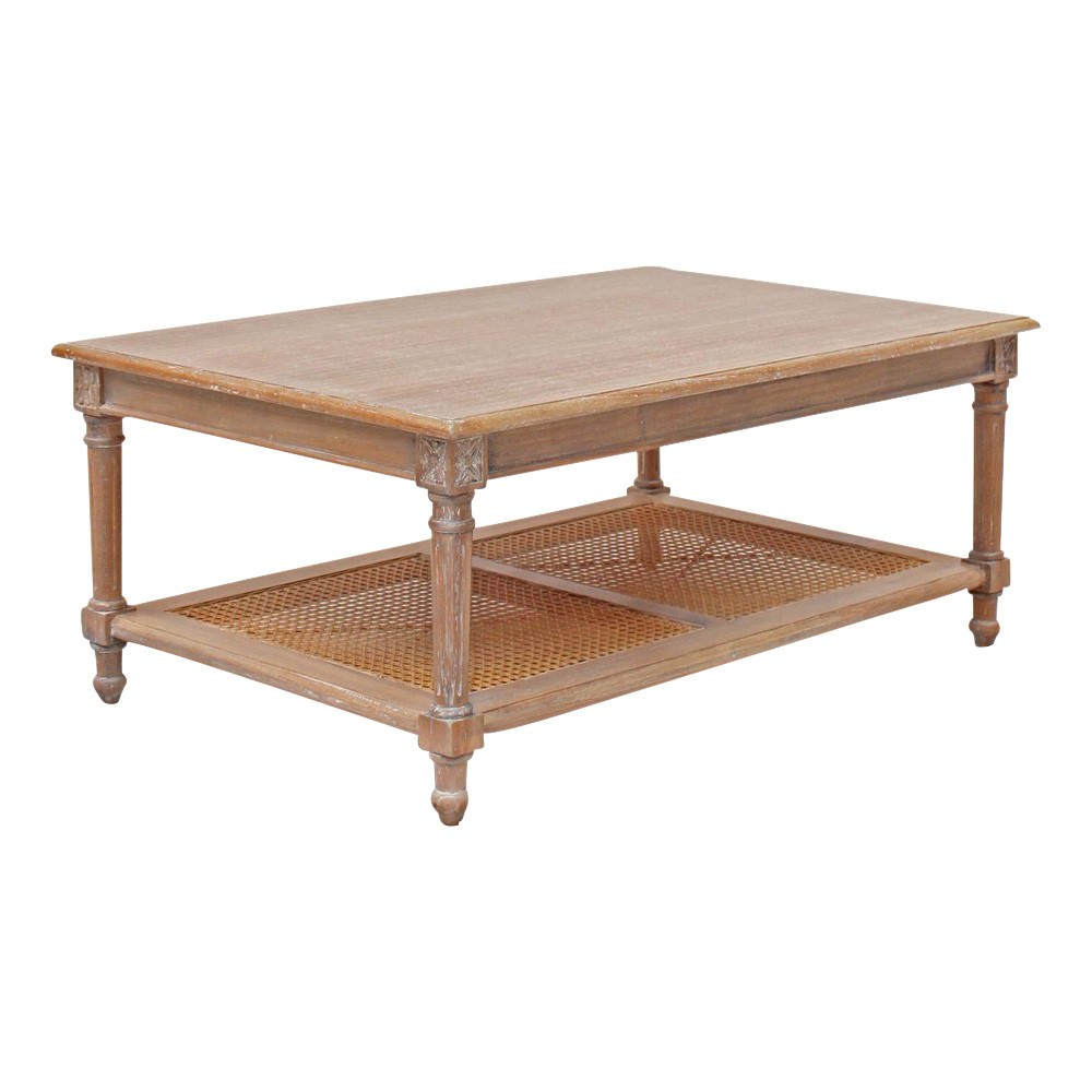 Lapalisse Handcrafted Mindi Wood Coffee Table, 110cm, Weathered Oak