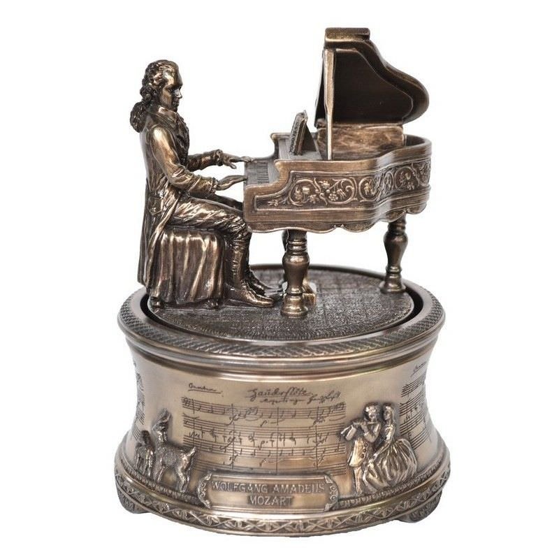 Cast Bronze Figurine Music Box, Mozart