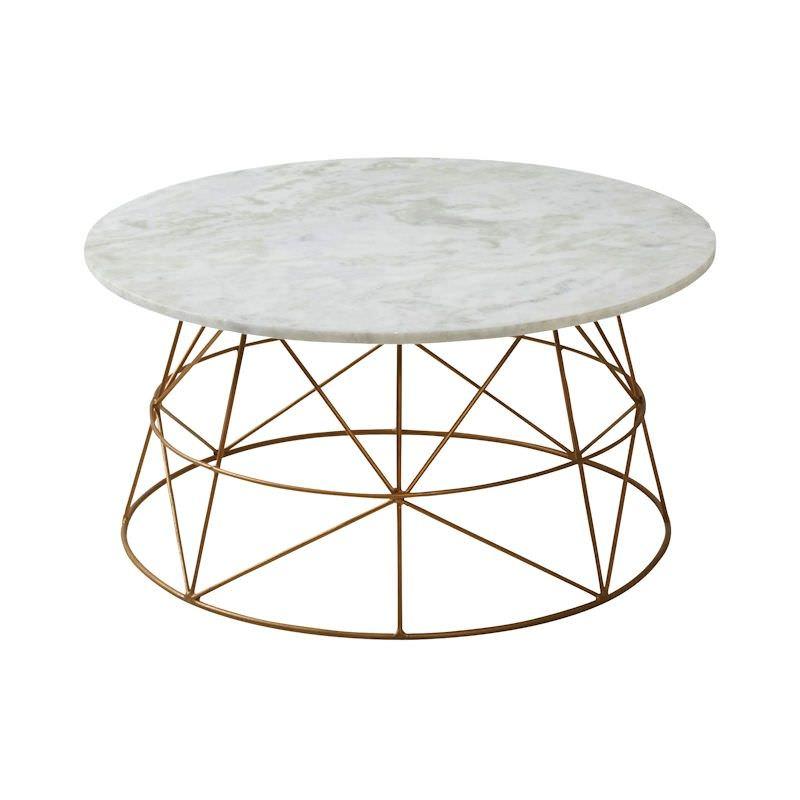 Klein Marble & Metal Round Coffee Table, 70cm