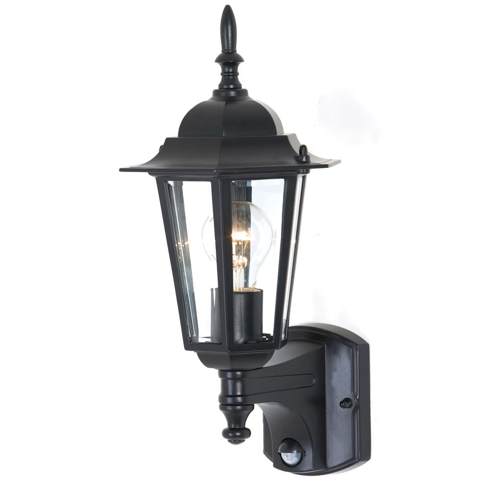 Tilbury IP44 Exterior Wall Lantern with Motion Sensor, Black
