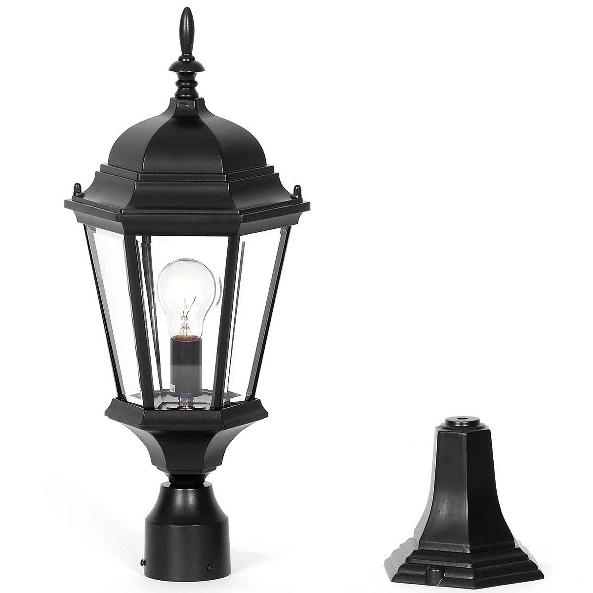 Yarra IP44 Exterior Post Lantern Top, Black
