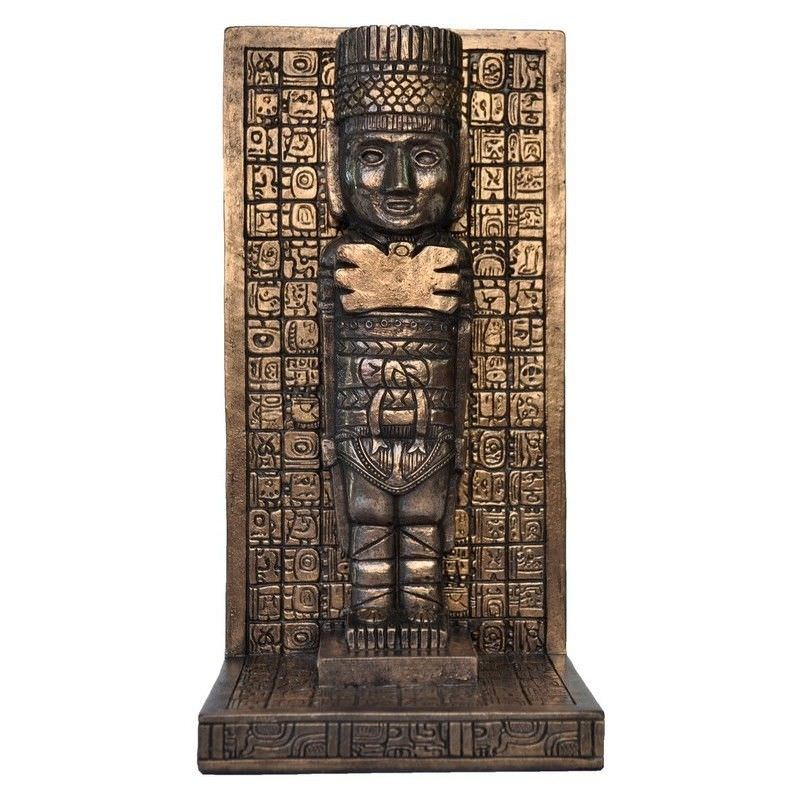 Cast Bronze Mayan Figurine Bookend