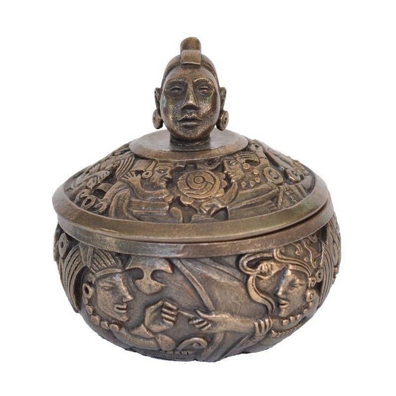 Cast Bronze Mayan Portrait Trinket Box