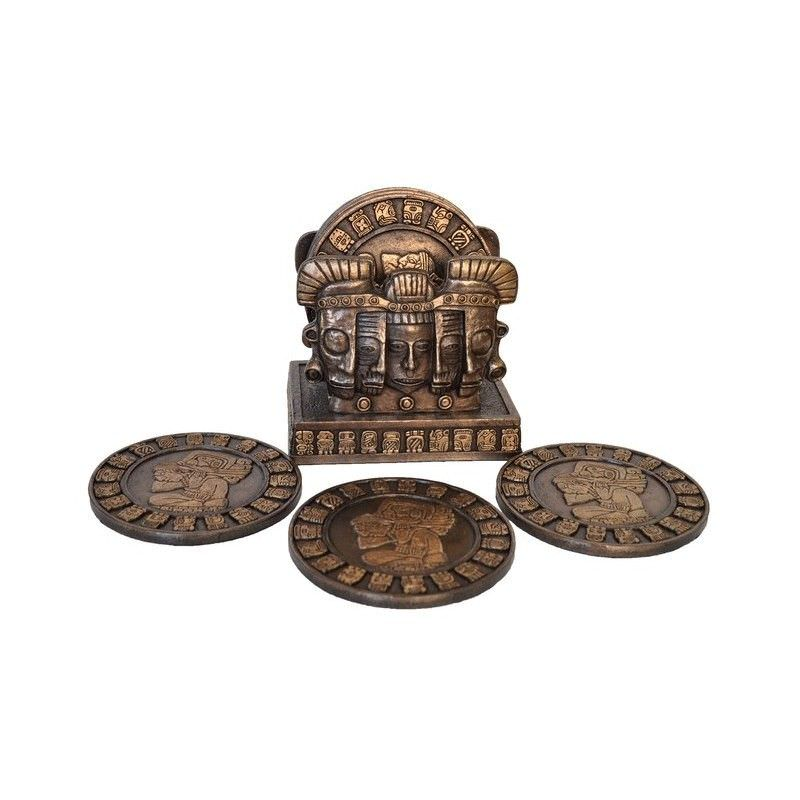 Cast Bronze 6 Piece Mayan Coaster Set