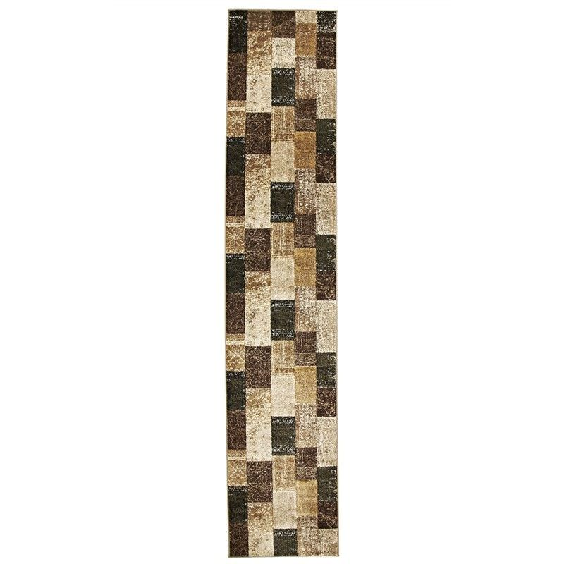 Mystique Kozan Turkish Made Modern Runner Rug, 400x80Cm, Tan/Charcoal