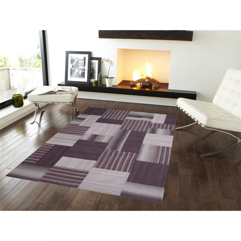Woollen Patch Durries in Purple - 160x230cm