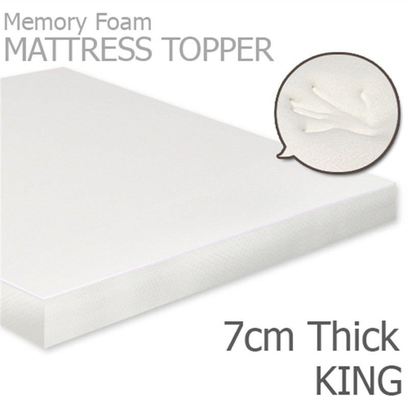 Visco Elastic Memory Foam Mattress Topper, 7cm Thickness, King