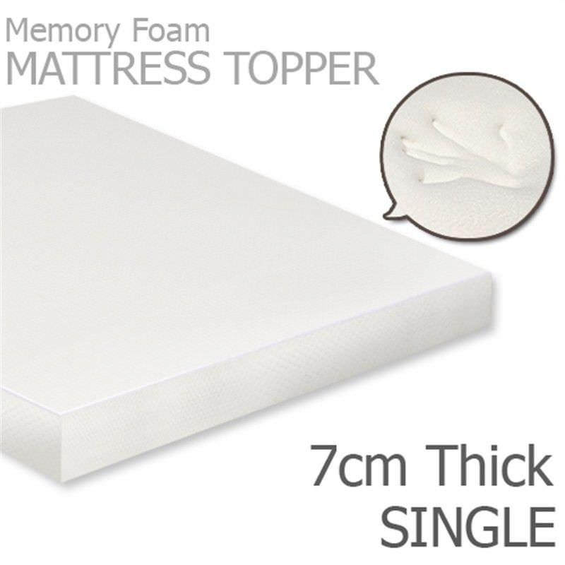 Visco Elastic Memory Foam Mattress Topper, 7cm Thickness, Single