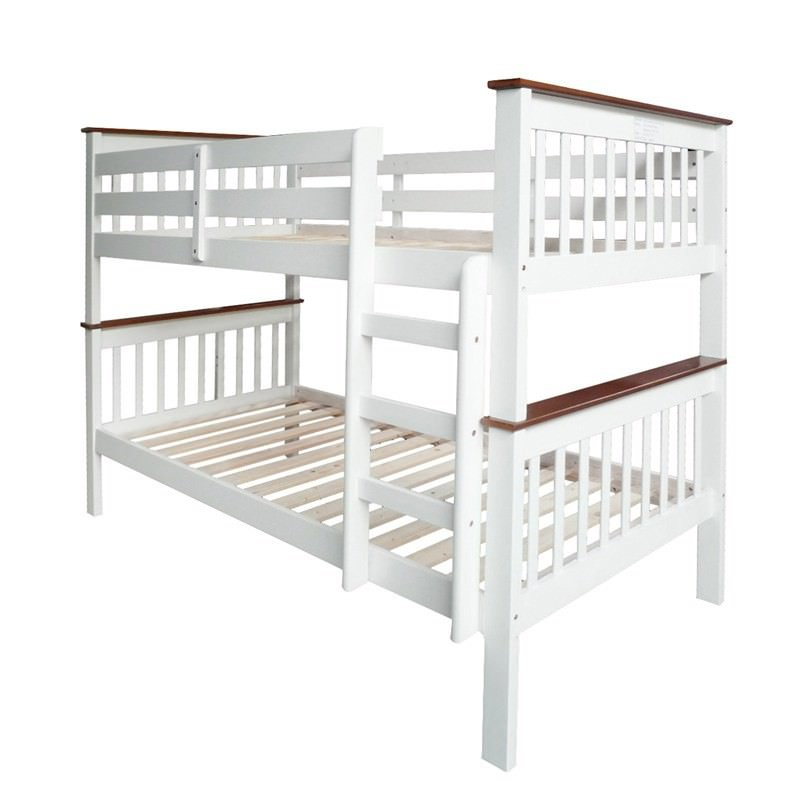 Monza Two-tone Solid New Zealand Pine Timber King Single Bunk Bed - White / Walnut