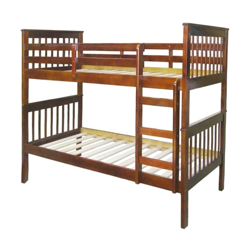 Monza Solid New Zealand Pine Timber Single Bunk Bed - Walnut