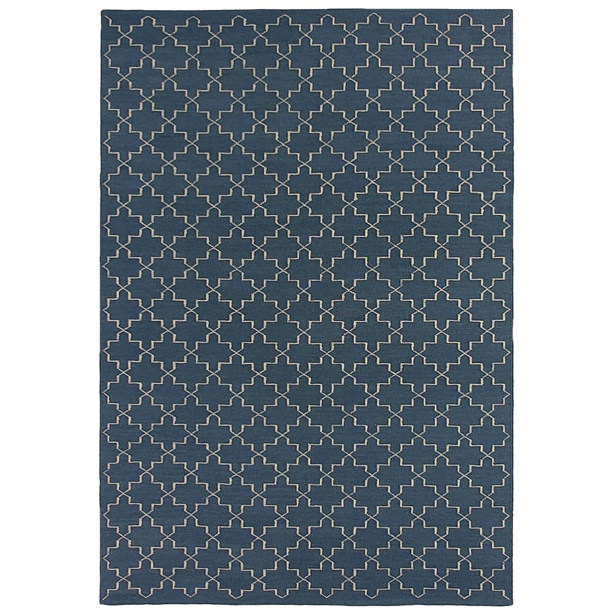 Moroc Hand Woven Wool Rug, 300x400cm, Navy