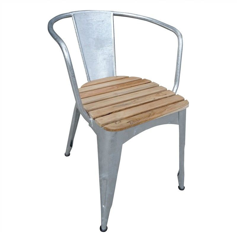 Lerryn Metal Dining Chair with Teak Timber Seat
