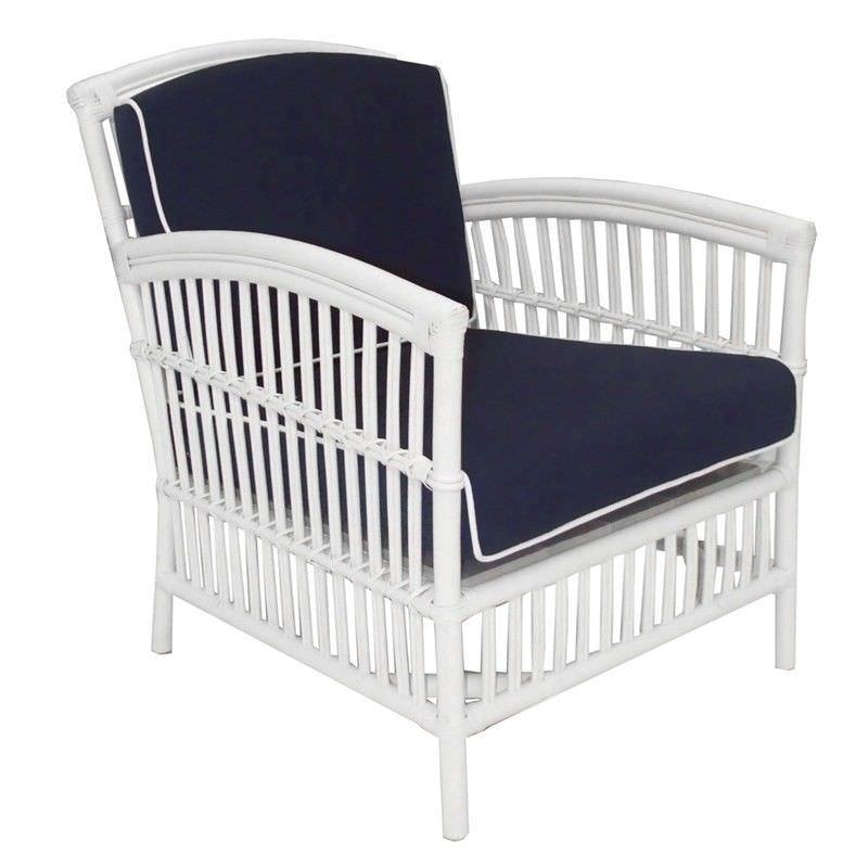 Royston Rattan Armchair with Cushion - White/Navy